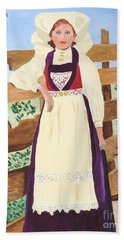 Bath Towel featuring the painting Hardanger Girl by Rodney Campbell
