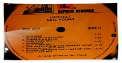 Harvest Neil Young Side 2 Hand Towel by Marcello Cicchini