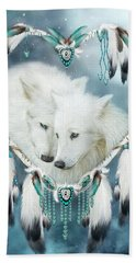 Heart Of A Wolf Hand Towel by Carol Cavalaris