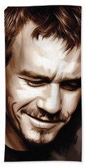 Heath Ledger Artwork Hand Towel by Sheraz A