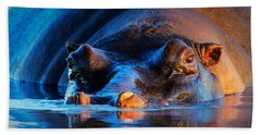 Hippopotamus  At Sunset Hand Towel by Johan Swanepoel