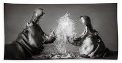 Hippo's Fighting Hand Towel by Johan Swanepoel