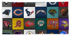 Hit The Gridiron Football League Retro Team Logos Recycled Vintage License Plate Art Hand Towel by Design Turnpike
