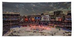 Hockey At Yankee Stadium Hand Towel by David Rucker