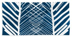 Indigo And White Leaves- Abstract Art Hand Towel by Linda Woods