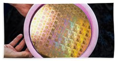 Hand Towel featuring the photograph Integrated Circuits On Silicon Wafer by Science Source