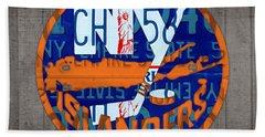 Islanders Hockey Team Retro Logo Vintage Recycled New York License Plate Art Hand Towel by Design Turnpike