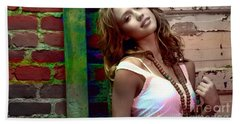 Jessica Alba Hand Towel by Marvin Blaine