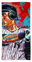 Jeter At Bat Hand Towel by Maria Arango