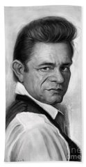 Johnny Cash Hand Towel by Andre Koekemoer