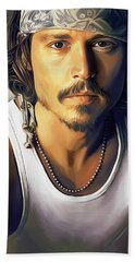 Johnny Depp Artwork Hand Towel by Sheraz A