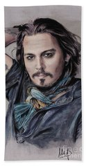 Johnny Depp Hand Towel by Melanie D