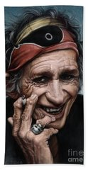 Keith Richards Hand Towel by Andre Koekemoer