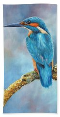 Kingfisher Hand Towel by David Stribbling