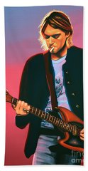 Kurt Cobain In Nirvana Painting Hand Towel by Paul Meijering
