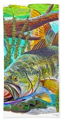Largemouth Bass Hand Towel by Carey Chen