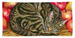 Left Hand Apple Cat Hand Towel by Ditz