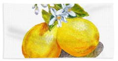 Lemons And Blossoms Hand Towel by Irina Sztukowski