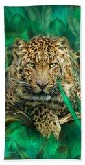 Leopard - Spirit Of Empowerment Hand Towel by Carol Cavalaris