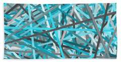 Link - Turquoise And Gray Abstract Hand Towel by Lourry Legarde