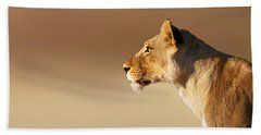 Lioness Portrait Hand Towel by Johan Swanepoel