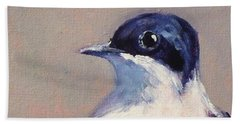 Little Blue And White Hand Towel by Nancy Merkle