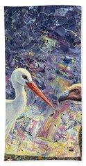 Living Between Beaks Hand Towel by James W Johnson
