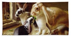 Long-eared Rabbits In A Cage Watched By A Cat Hand Towel by Horatio Henry Couldery
