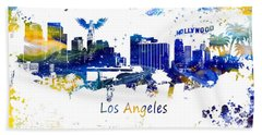 Los Angeles California Skyline Yellow Blue Hand Towel by Justyna JBJart