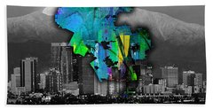 Los Angeles Map And Skyline Watercolor Hand Towel by Marvin Blaine