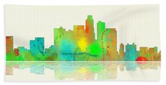Los Angeles California Skyline Hand Towel by Marlene Watson