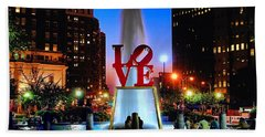 Love At Night Hand Towel by Nick Zelinsky