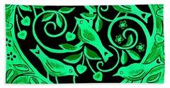 Love Birds, 2012 Woodcut Hand Towel by Nat Morley