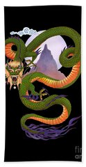 Lunar Chinese Dragon On Black Hand Towel by Melissa A Benson