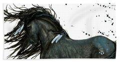 Majestic Friesian Horse 112 Hand Towel by AmyLyn Bihrle