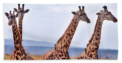 Masai Giraffe Hand Towel by Adam Romanowicz