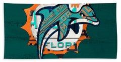Miami Dolphins Football Team Retro Logo Florida License Plate Art Hand Towel by Design Turnpike