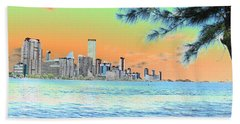 Miami Skyline Abstract II Hand Towel by Christiane Schulze Art And Photography