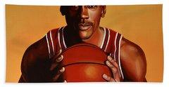 Michael Jordan 2 Hand Towel by Paul Meijering