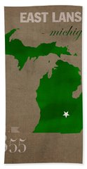Michigan State University Spartans East Lansing College Town State Map Poster Series No 004 Hand Towel by Design Turnpike