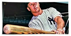 Mickey Mantle Painting Hand Towel by Florian Rodarte