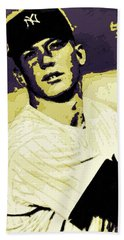 Mickey Mantle Poster Art Hand Towel by Florian Rodarte