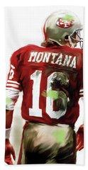 Montana II  Joe Montana Hand Towel by Iconic Images Art Gallery David Pucciarelli