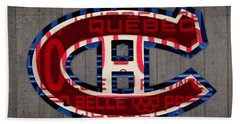 Montreal Canadiens Hockey Team Retro Logo Vintage Recycled Quebec Canada License Plate Art Hand Towel by Design Turnpike