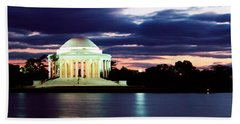 Monument Lit Up At Dusk, Jefferson Hand Towel by Panoramic Images