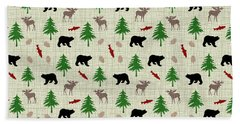 Moose And Bear Pattern Hand Towel by Christina Rollo