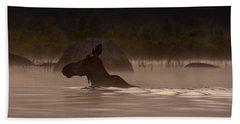 Moose Swim Hand Towel by Brent L Ander