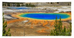 Grand Prismatic Geyser Yellowstone National Park Hand Towel by Edward Fielding