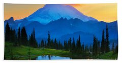 Mount Rainier Goodnight Hand Towel by Inge Johnsson