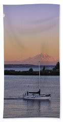 Mt. Rainier Afterglow Hand Towel by Adam Romanowicz